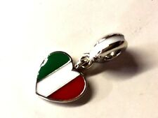 NEW! AUTHENTIC PANDORA SILVER CHARM ITALY FLAG HEART DANGLE #791547ENMX