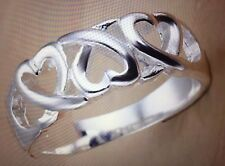 925 jewelry silver plated Three Heart Ring  women's Size 10