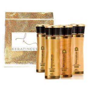 Keratin Cure Strong Hair Treatment Gold & Honey V2 5 PC Kit Frizzy Curly 5oz