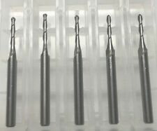 "NEW 1/16"" Carbide End Mill LONG 3/8"" Cut 2 Flute BALL End USA Made 5 pack"