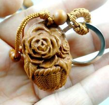 Hand-carved Flower baskets Wooden Crafts, Key Chain, Key Ring Lover Gift h1