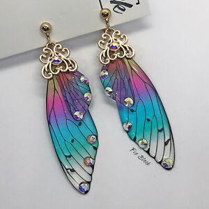 Rainbow Fairy Butterfly Wings Drop Clip On Earrings Blogger UK Seller Boho Fun