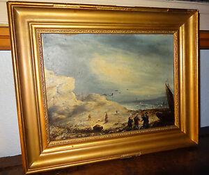 Tableau peinture BRETAGNE retour de pêche marine daté 1860 Jules Noël??