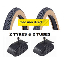 2x 26x1 3/8 Amber Wall Tyres & 2x Inner Tubes - Schrader Valves - Free Delivery