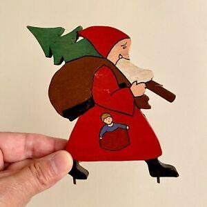 Laubsägearbeit ALT 1930er 11x10x0,8cm Weihnachtsmann Puppe Tanne Weihnachten RAR