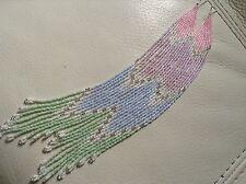 OOAK long Baby Pastel Aurora Boho Native 8 3/4in delica seed beaded earrings
