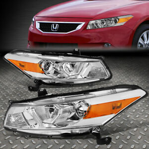 FOR 08-12 HONDA ACCORD COUPE CHROME/AMBER CORNER PROJECTOR HEADLIGHT HEAD LAMPS