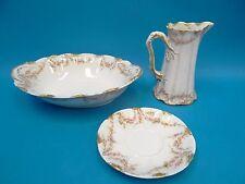 Antique Theodore Haviland Limoges France Pink Rose Pattern Creamer Bowl Saucer