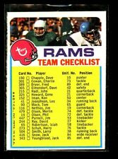 1973 TOPPS RAMS CHECKLIST EXMINT D023491