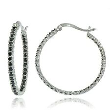 Sterling Silver Black Cubic Zirconia Inside Out 30mm Round Hoop Earrings