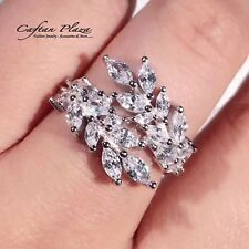 Women's Ring 18 K WHITE GOLD plt. with Cubic Zirconia AAA Unique Extravagant
