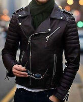 Mens Cool Quilted Biker Black Real Moto Lambskin Leather Jacket