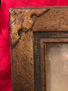 Antique Art Nouveau / Victorian Brass / Wooden Frame Ornate Floral 1890-1910 Exc