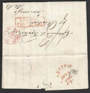 """DEVON 1818 EL EX LYMPSTONE VIA  RED BOXED """"EXETER / PENNY POST"""" + ADDITIONAL 1/2"""