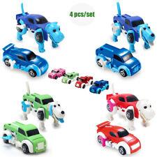 4pcs Dinosaur Dog Car Transformer Novelty Clockwork Deformable Vehicle Kids Toy