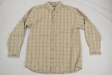 Columbia Mens Beige Plaid Long Sleeve Button Front Shirt Sz L