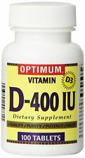 Optimum Vitamin D-400IU Capsules Vitamin D3 100 Counts
