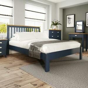 Blue Painted Slatted 4'6 Double Wooden Bed Frame Tapered Legs Bedroom Furniture