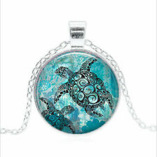 Sea Turtles Tibet silver Glass dome Necklace chain Pendant Wholesale