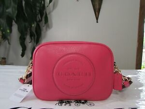 NWT Coach Pebble Leather Dempsey Camera Bag With Patch C2828 Fuchsia
