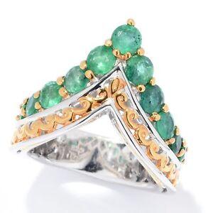 Gems en Vogue 1.69ctw Zambian Emerald Arrow Ring Size 6 J514835 evine J
