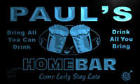 p1408-b PAUL's Personalized Home Bar Beer Family Name Neon Light Sign