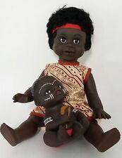 "Australian Aboriginal Doll Girl Yellow Dress 35cm or 13"" and Baby 15cm"