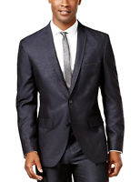INC International Concepts Party Regular Fit Shiny Navy Sportcoat Small S $129