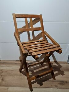 Vintage Child / Doll Folding Wooden Chair VW Camper Fishing