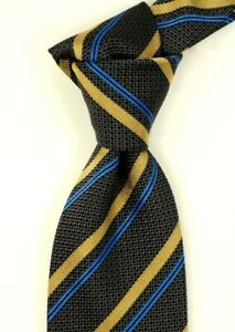 """$230 NWOT Brioni Charcoal w/ Gold & Blue Repp Stripes Silk Neck Tie ITALY 3.1""""W"""