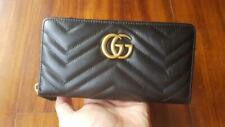 Gucci Womens Black Leather GG Marmont Zip Around Wallet
