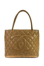Chanel Womens Medallion Tote Handbag Nude Caviar Quilted Leather