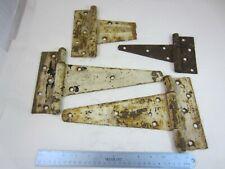 "Pair of 12"" Antique Heavy Metal Barn Door Gate Strap Hinges & 2 Other Hinges"