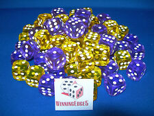 NEW 18 ASSORTED PURPLE AND YELLOW ACRYLIC DICE 16MM 2 COLORS 9 OF EACH COLOR