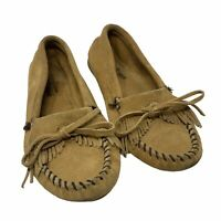 Minnetonka 407 Kilty Hardsole Moccasins Womens Size 6.5 Brown Leather Fringe
