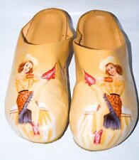 Vintage Gil Elvgren 1951 Pin Up Artist Rarin'Cowgirl Hand Painted Leather Clogs.