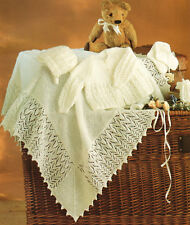 "Baby Matinee Coat Bonnet Bootees & Shawl 14"" - 18""  3 Ply Knitting Pattern"