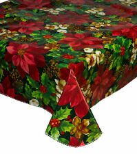 Red Poinsettia Christmas PVC Tablecloth Festive Floral Flannelback Table Linen