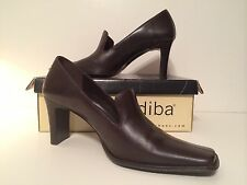 Leather Brown Women's Size 10 M Dress Pumps Solid High Heels Square Toe DIBA