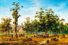 An Aboriginal Encampment Adelaide by Alexander Schramm 60cm x 40cm Art Print