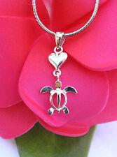 Hawaiian 925 Sterling Silver Hawaii Heart Honu Turtle Pendant Necklace # SP22601