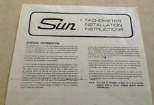 SUN Super Tach II Tachometer INSTALLATION INSTRUCTIONS