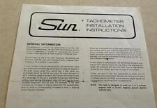 SUN Super Tach II Tachometer INSTALLATION INSTRUCTIONS