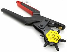 LEATHER REVOLVING HOLE PUNCH Heavy Duty 6 Size Pliers Punch Belt Holes Tool