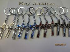 Lot of 12 Enamel Metal Cross Key Chain / New