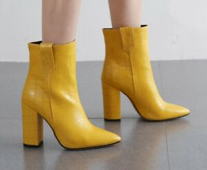 Women 10.5cm High Heel Pointy Toe Crocodile Print Ankle Boots British Shoes Club