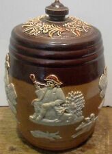 ANTIQUE FABULOUS ROYAL DOULTON COVERED JAR w/ HUNT SCENES MINT