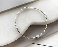 925 Sterling Silver Stretch Skinny Stack Noodle Bracelet Aquamarine Gemstone