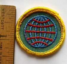 Girl Scout Cadette 1963 WORLD HERITAGE PROFICIENCY BADGE Earth Globe World Patch