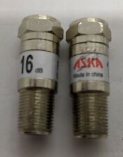 Lot Of 2 ASKA Cable TV 16db Fixed Attenuator Pads 5-2300 MHZ Pre-owned